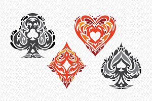 Playing Cards Tribal Vector Symbols