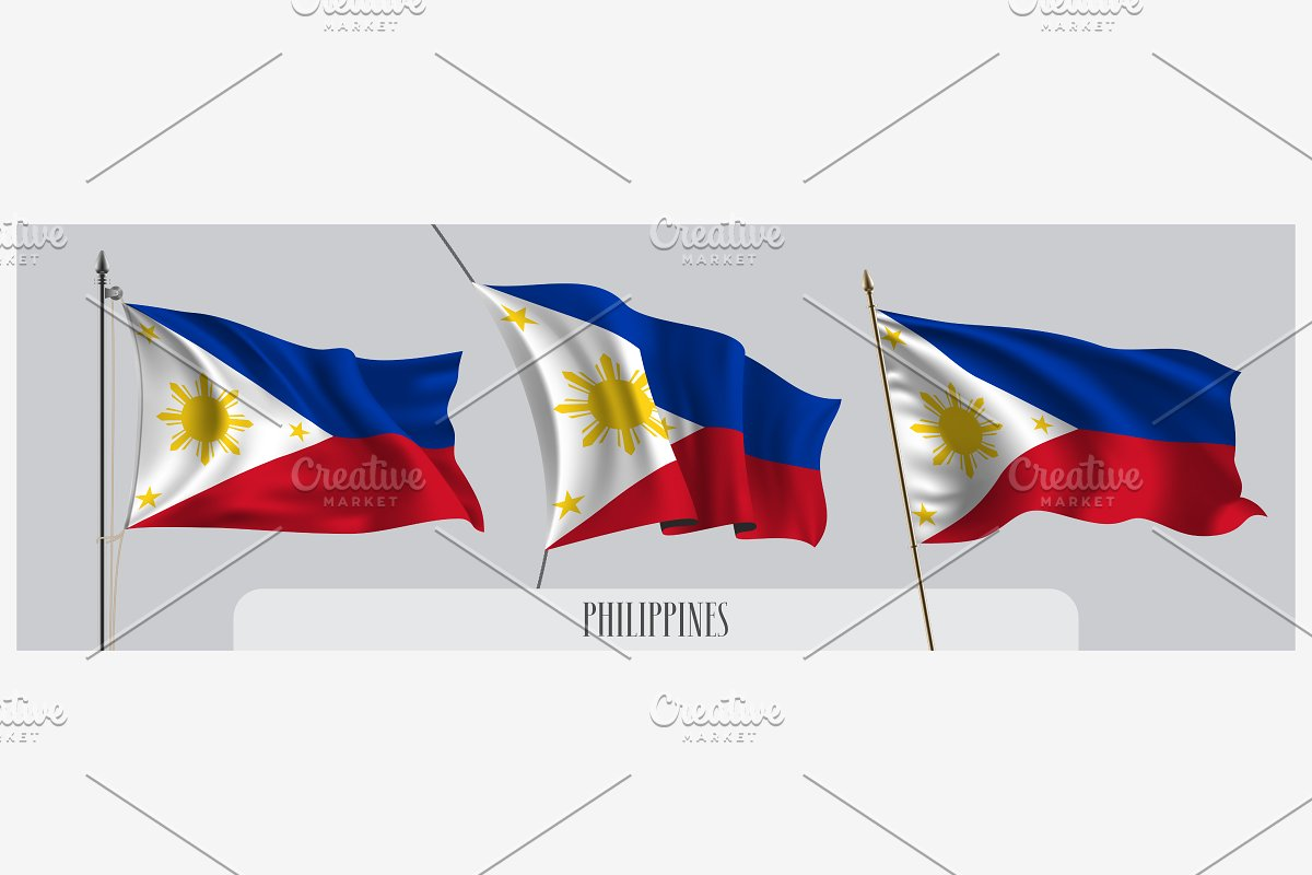 Set of Philippines waving flag vecto