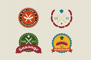 4 Sausage Retro Vector Badges