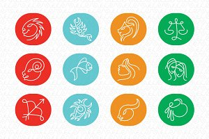 Linear Zodiac Signs Vector Icon Set