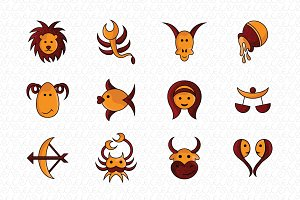 Kids Style Zodiac Signs Vector Icon