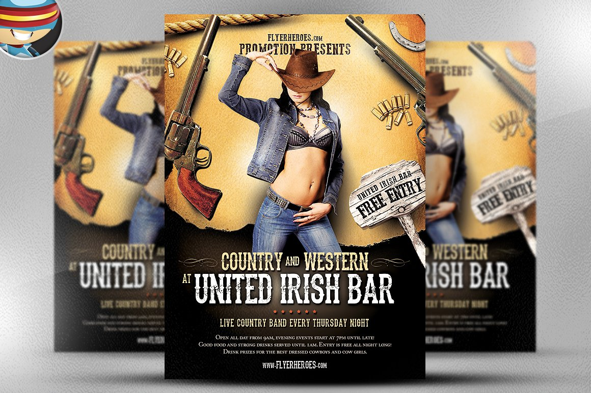 Country and Western Flyer Template Flyer Templates on Creative – Western Poster Template