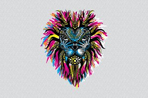 Lion Head Trible Style Vector