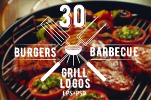 30 Burgers and barbecue logos bundle