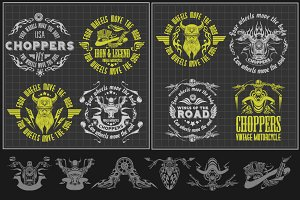Vintage motorcycle labels - set3