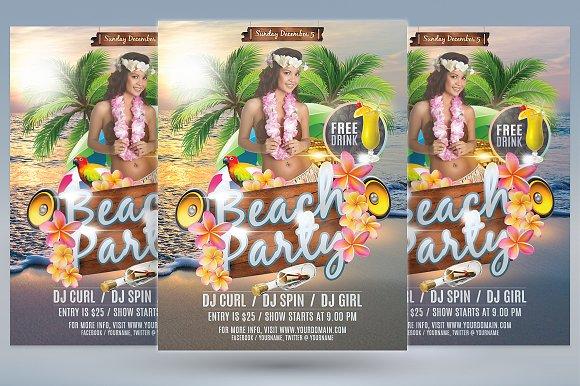 hawaii beach party flyer flyer templates creative market