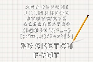 Hand drawn 3D sketch font