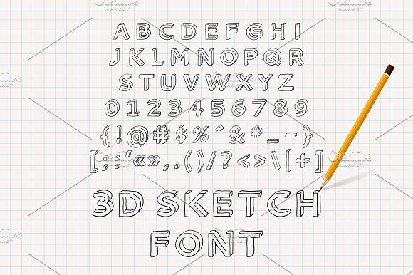 Hand Drawn 3D Sketch Font Serif Fonts Creative Market