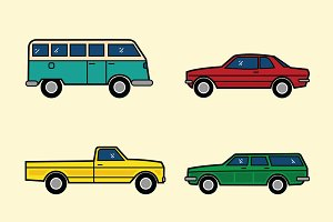 6 Vector Car Icons in Line Style