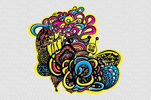 Snail Graffiti Style Vector Graphic