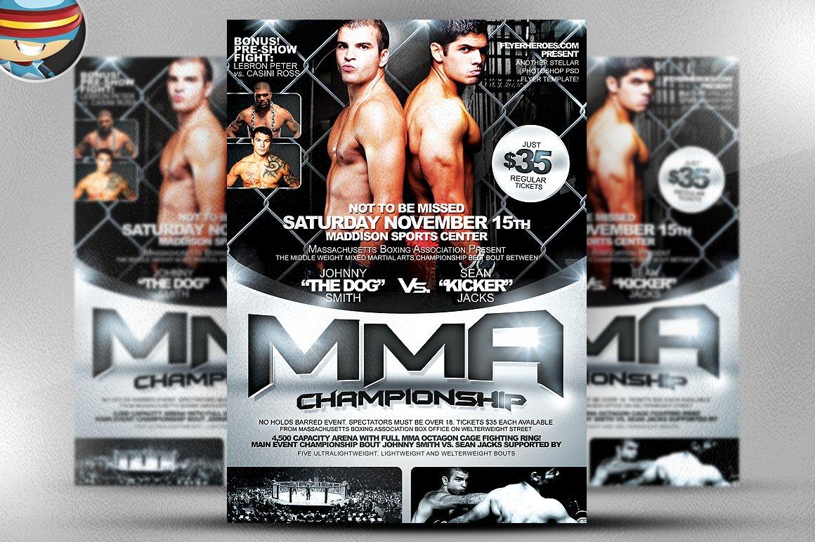 MMA Flyer Template Flyer Templates Creative Market – Ufc Flyer Template