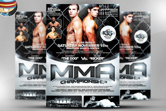 MMA Flyer Template Flyer Templates on Creative Market – Ufc Flyer Template