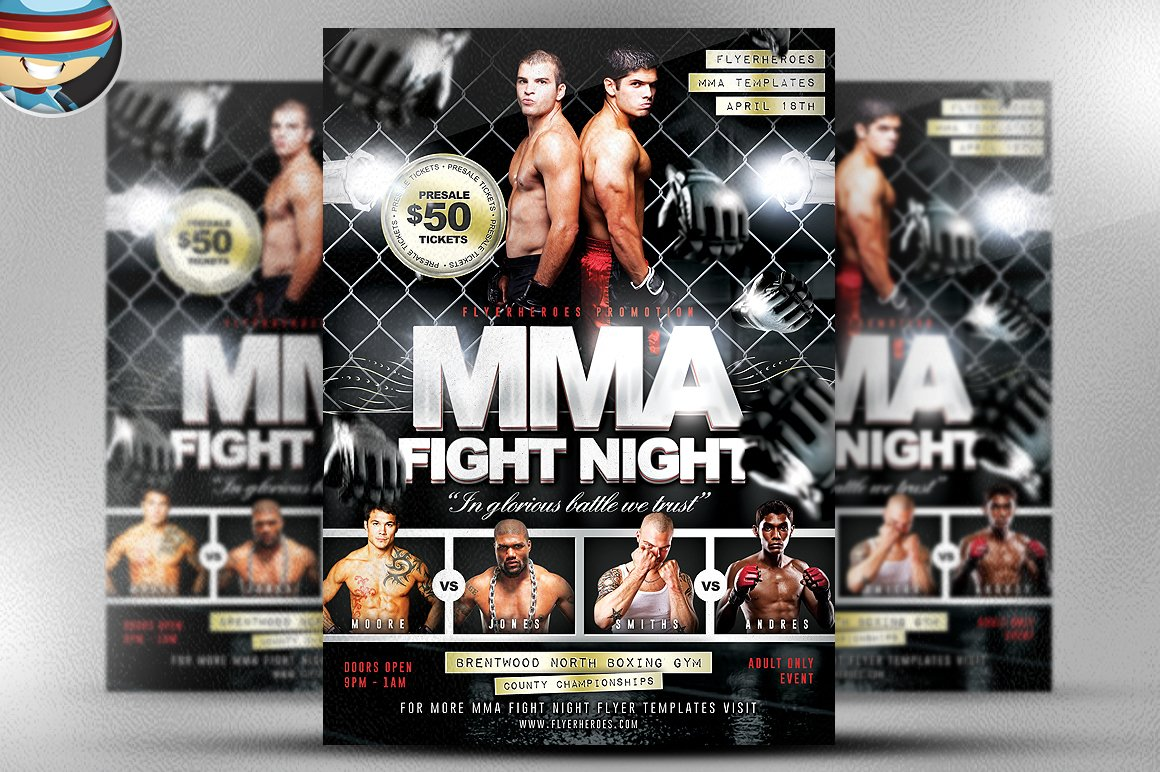 MMA Fight Night Flyer Template Flyer Templates Creative Market – Ufc Flyer Template