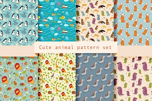 Cute animal pattern set