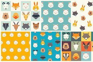 Cute animals vector pattern set