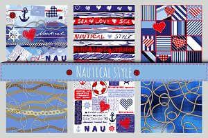 Set of 6 patterns in nautical style