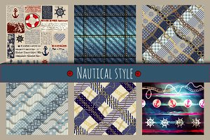 Set of patterns in nautical style.
