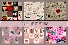 Set of patterns with hearts