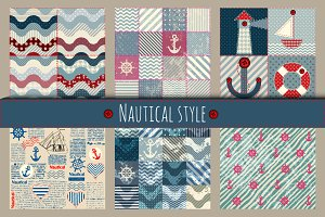 Set of 6 patterns in nautical style.