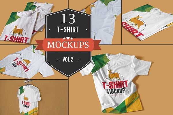 Round Neck T-shirt PSD Mockups Vol…