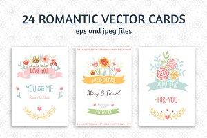 24 Romantic & Wedding Cards Template
