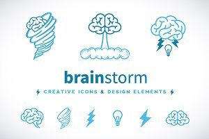 Brain Storm Vector Creative Icons