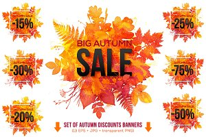 13 watercolor autumn SALE banners