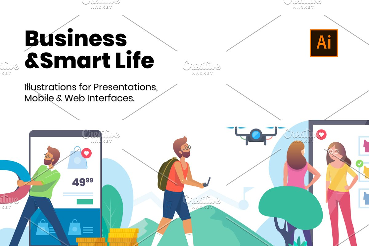 Business & Smart Life Illustrations