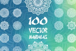 100 Vector Mandalas, Round Ornaments