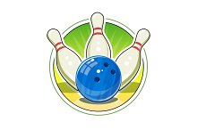 Bowling ball and skittles for game