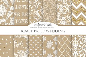 Kraft Paper Wedding Digital Paper