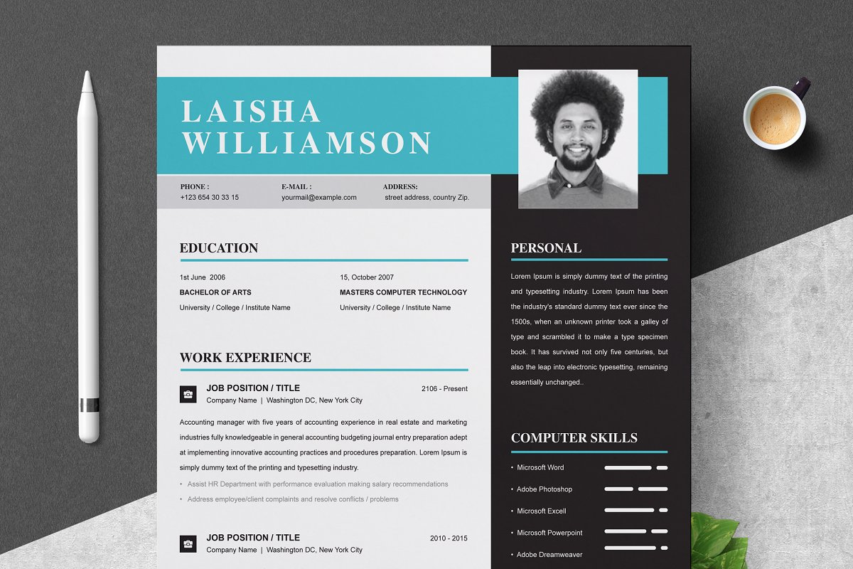 Resume Template 3 Pages Word Cv Resume Templates