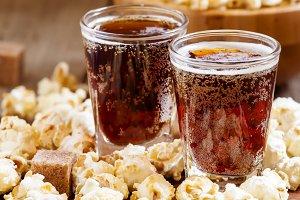 Caramel popcorn and cola