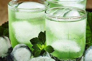 Green drink with ice
