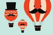 hot air balloon people vector