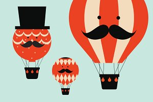 hot air balloon people vector