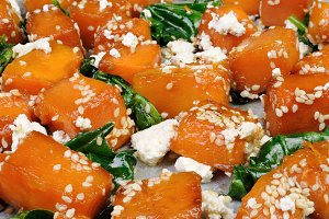 pumpkin with spinach and sesame