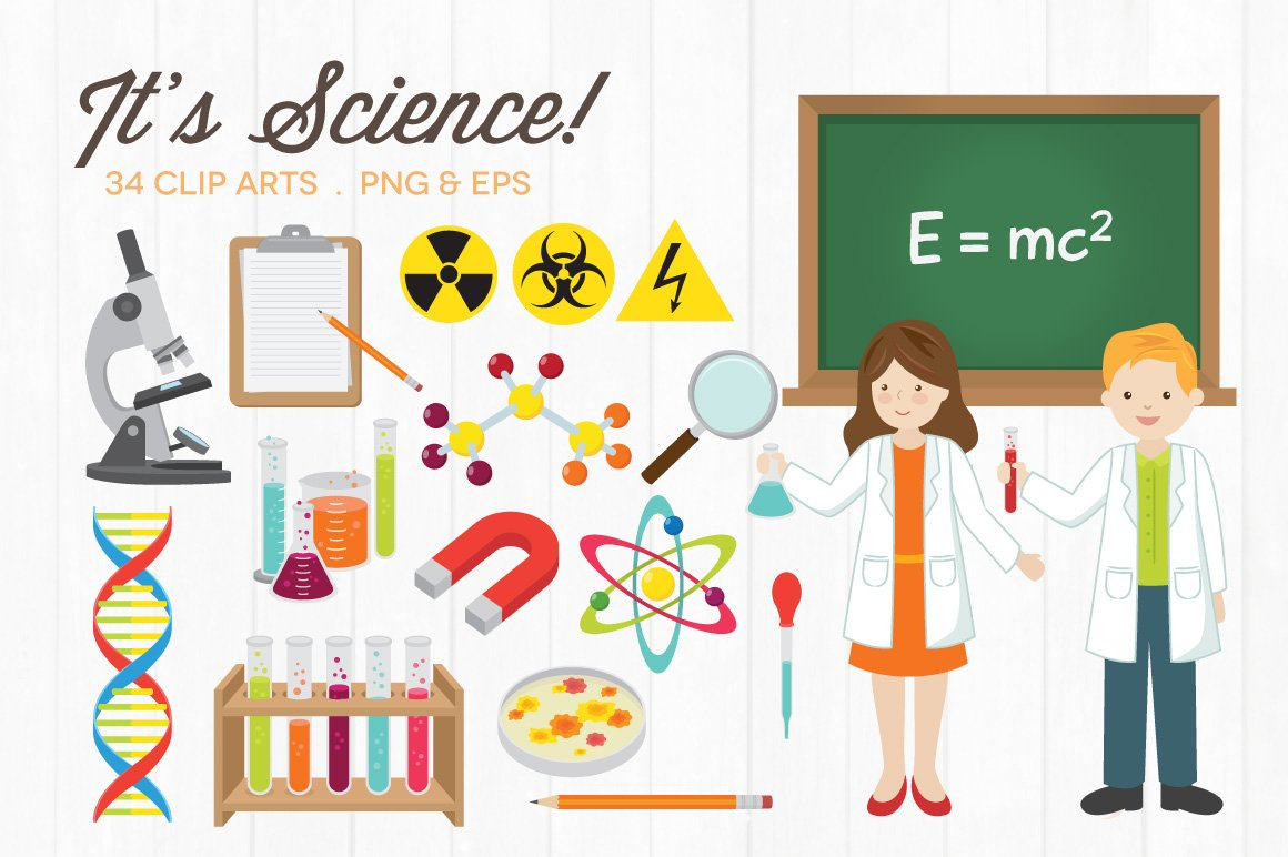 science clip creative graphics illustrations market icons doodle drawn hand technology