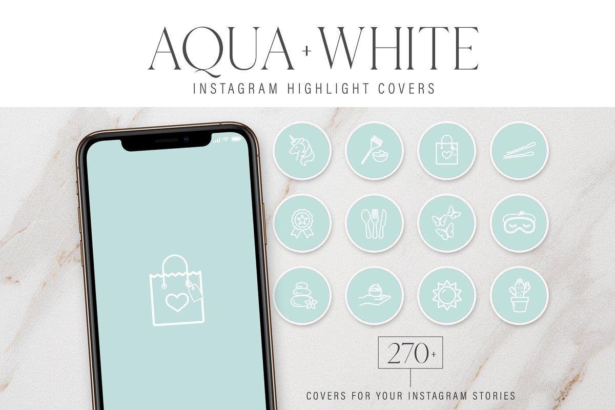 Aqua Instagram Highlight Covers