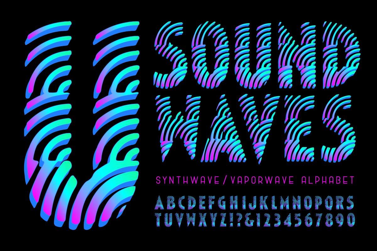 Sound Waves Vaporwave Alphabet