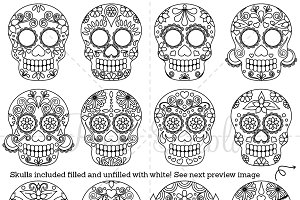 Day of the Dead Skull Digital Stamps
