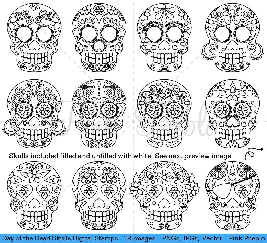 Day Of The Dead Skull Digital Stamps Illustrations Creative Market