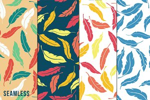 Colorful Seamless Feathers Patterns