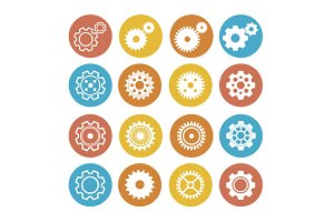 Gear Icon Set. Flat Design. Vector