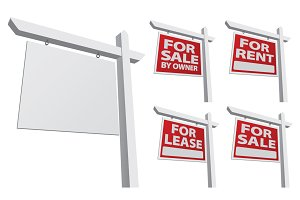 Set of Vector Real Estate Signs