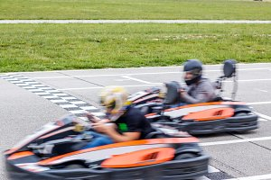 Two karts finishing the karting race