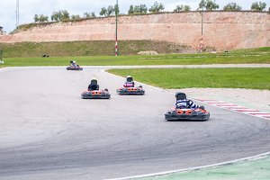 Group of karting racer in a circuit