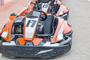 Group of cars of karting in a row