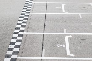 Closeup of finish line in a karting