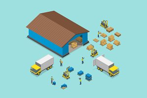Warehouse isometric concept